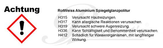 Aluminium Spiegelglanzpolitur, RotWeiss CLP/GHS Verordnung