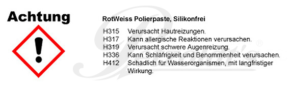 Polierpaste, Lackreiniger, RotWeiss CLP/GHS Verordnung