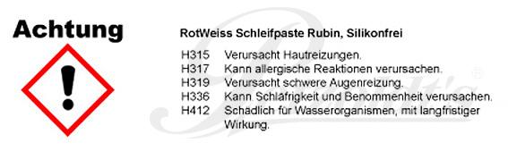 Schleifpaste Rubin, RotWeiss, 750 ml CLP/GHS Verordnung