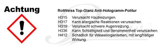 Top-Glanz, Anti-Hologramm-Politur, RotWeiss CLP/GHS Verordnung